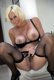 Blonde mature with big and huge boobs showing her sexy hairy vagina  - BIG BOOBS