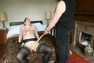 Amateur bbw Nimues breast bondage and tit spanking of collared English spankee with purple boobies - BDSM and Pain