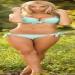 Sexy Blonde Babe In Blue Bikini